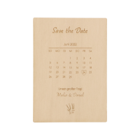 """Personalisierte """"Save the Date""""- Postkarte aus Holz"""